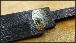 Damascus Knife Blade,gold Inlay,bowie,hand Forged,hunting,american Native,indian