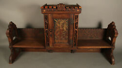 Antique Carved Wood Religious Church Alter With Jesus And Mary 12189