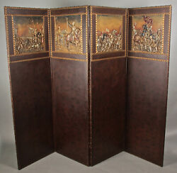 1920and039s Four Panel Embossed Spanish Revival Tall Folding Screen 12051