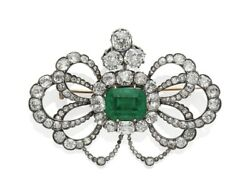 Green Emerald Halo Style 925 Sterling Silver Brooch Pin Vintage Style Fine Jewel