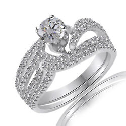Round Simulated Diamond Swirl Bridal Engagement Rings 10k Solid White Gold