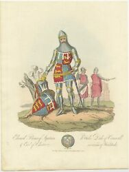 Antique Print Of Edward, Of Wales, By Hill 1811