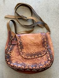 Handmade Leather Small Purse Hand Tooled Bird And Flower Design