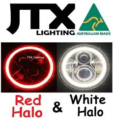 1pr Jtx 7 Led Headlights Red And White Land Rover Series 1 2 2a 3