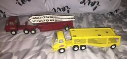 Vintage Tonka Toy Trucks Fire Ladder 55010 And 2845 Semi Car Carrier