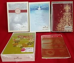Hallmark Christmas Card Lot 4 Boxes 72 Total Cards + Gold Foil Gift Seals
