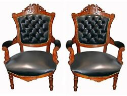 Pair Of Victorian Carved Walnut Arm Chairs In Leather 1880 7406