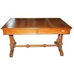 Antique Oak Writing Table With Leather Top 3537