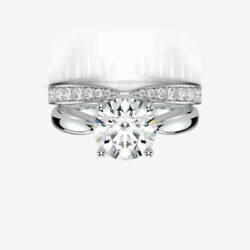 DIAMOND BAND SET RING 18K WHITE GOLD SI2 3.2 CARATS ROUND SPARKLING WOMENS