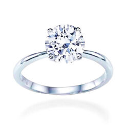 2 Ct Round Cut Moissanite 4 Prong Solitaire Engagement Ring 14k White Gold Sz 9