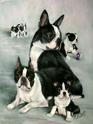 Boston Terrier family  dog art original oil painting on canvas by Roberta C