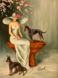 Manchester Terrier  dog art original oil painting on canvas by Roberta C