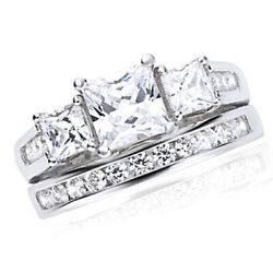 Simulated Diamond Three-stone Engagement Ring 14k Gold Over Sterling Silver 925