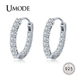 UMODE Huggie Round Circle 925 Sterling Silver Earrings Girls Engagement Silver H