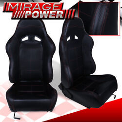 X2 Black Pvc Leather Red Stitching Racing Seats Pair For Mustang Cobra Gt