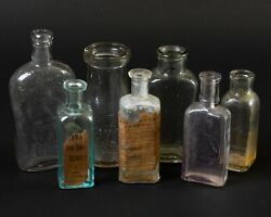 Lot Of 7 Antique Glass Bottles Warranted Flask Hires + More Amethyst Clear Blue