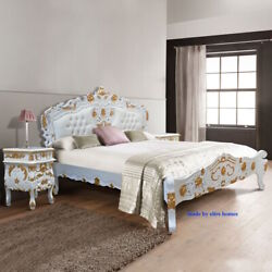 For Tall People 180cmx230cm White And Gold French Style Rococo Bed Top Quality