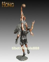 148 cm Western art deco pure bronze physical exercise play basketball sculpture