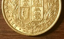 Rare 1857 Gold Great Britain Young Head Shield Full Sovereign Coin Die Flaw