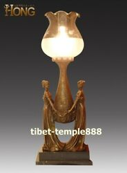 78 Cm Western Art Deco Pure Bronze Two Young Women Girl Table Lamp Desk Lamp