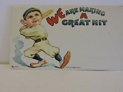 Vintage Early 1920and039s Baseball Player Lithograph Published By Hayes Litho Buffalo