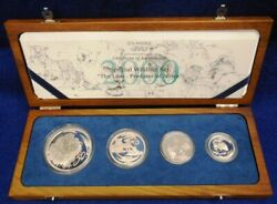 2000 South Africa Wildlife Series The Lion 4-coin Silver Proof Set...box And Coa