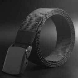 USA Men's Buckle Long Canvas Nylon Waist Web Belt Tactical Strap Waistband Gift