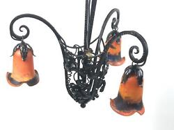 Art Deco Chandelier with Glass Shades in style of Nics Frères & Degué [5581]