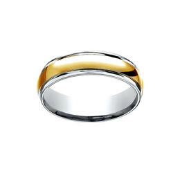 Comfort-fit Polished Wedding Menand039s Band Ring 14k Two-tone Gold 6mm