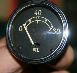 30s Cadillac Lasalle 0-80 Lbs Oil Pressure Gauge Curved Glass