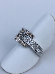 10kt Diamond Ring With Reversable Buckle Of Black And Chocolate Diamonds