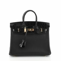 Hermes Touch Birkin Handbag Noir Novillo with Shiny Niloticus Crocodile