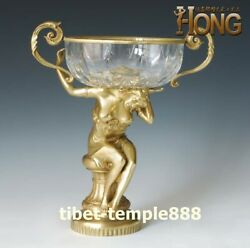 Western Art Deco Bronze Glass Half-naked Young Women Girl Bowl Cup Vase Tray