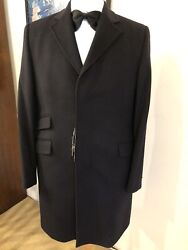 New Emiliovisconti Mens Overcoat 40cashemere60wool Navy Size 46.made In Italy.