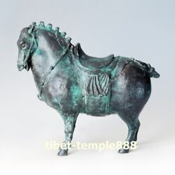 41 Cm Western Art Deco Bronze Painted Fine Horse Battle Steed Abstract Sculpture