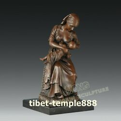 35 Cm Western Art Deco Bronze Young Women Mother Feed The Baby Infant Sculpture