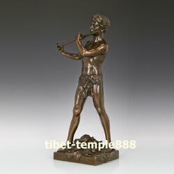 55 Cm Western Art Deco Pure Bronze Young Man Boy Who Plays The Flute Sculpture