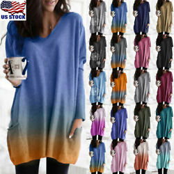 Women Autumn Long Sleeve Casual Pocket T-Shirt Tops Ladies Blouse Tunic Shirt US