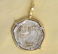 2 Reales Cob Treasure Coin In Solid 14kt Gold And Diamond Pendant 1556-1598