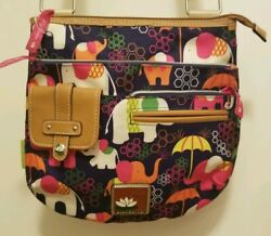 Lily Bloom Crossbody Purse Hand Bag Elephant Rain Design Vibrant Colors EUC