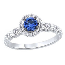 Sapphire Halo Engagement Ring 10k White Gold 0.75 Cttw