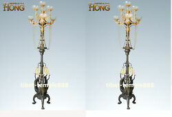 200 cm Western art deco bronze women Girl candle holder candlestick sculpture