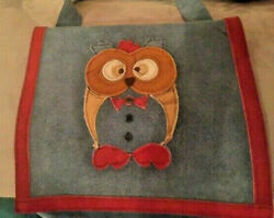 Vintage Handmade Boho Blue Suede Shoulder bag purse Sewn-on Owl design 1970s GUC