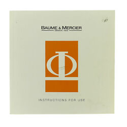 Baume And Mercier Instruction For Use For Chronograph Watch Booklet