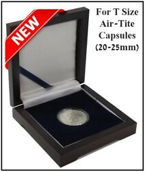 Wood Display Coin Box For 1 T Size Airtite Capsule 20-25 Mm Collector Gift Case