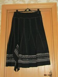 Pause Cafe wool blend black panel lined skirt embroidered midi uk 1214 textured