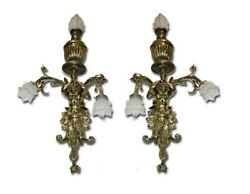 Pair Of Victorian Brass Wall Sconces, 19th C. 4042