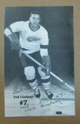 Rare 1991 Ted Lindsay Auto Signed 5.5 X 8.5 Inch Pamphlet Detroit Red Wings Wow