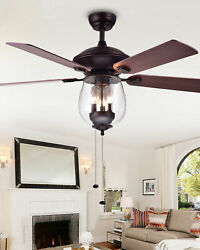 Horchow Home Accessories Seeded Glass Ceiling Fan Modern Farmhouse Indoor New 52