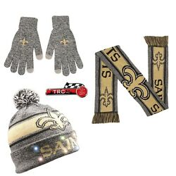 New Orleans Saints Foco Nfl Light Up Beanie/scarf/texting Gloves Set Free Ship